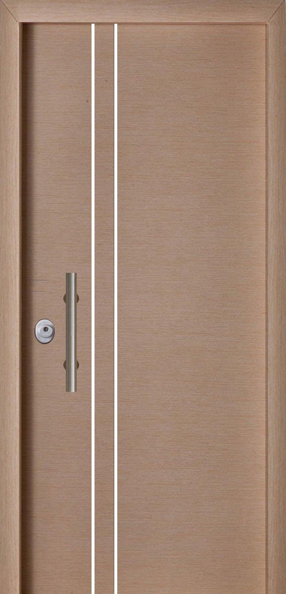 Πόρτες Ασφαλείας - Laminate - Δρύς με 2 κάθετες inox