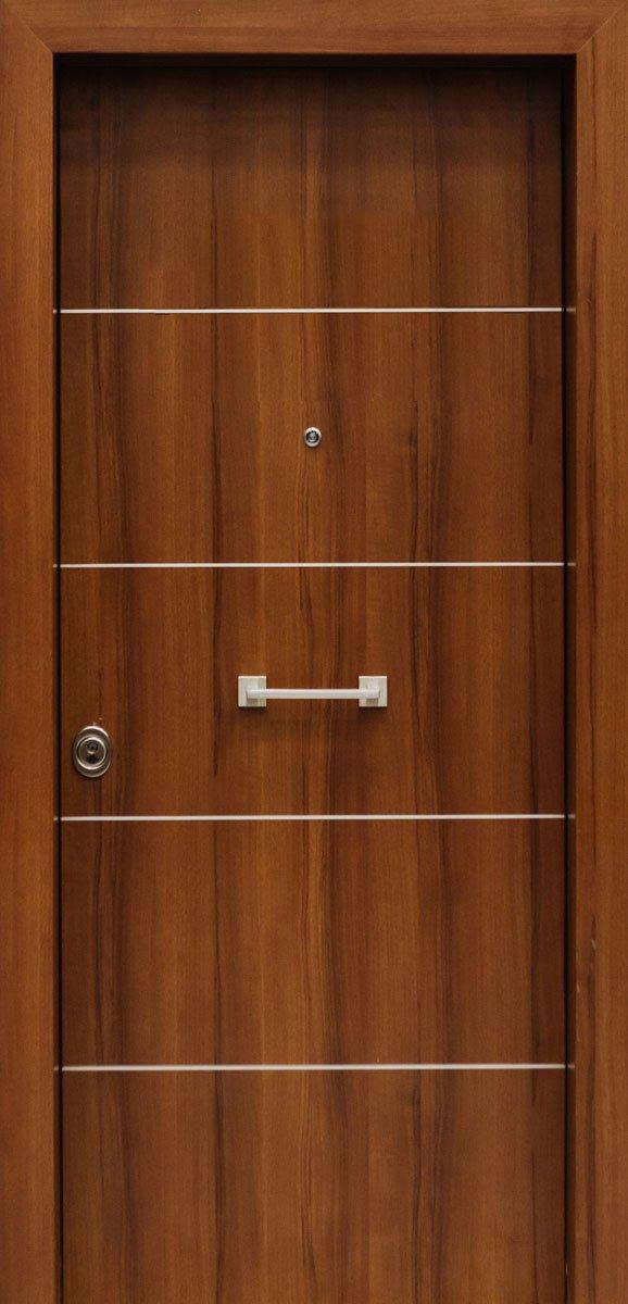Πόρτες Ασφαλείας - Laminate - Καρυδιά με 4 οριζόντιες inox
