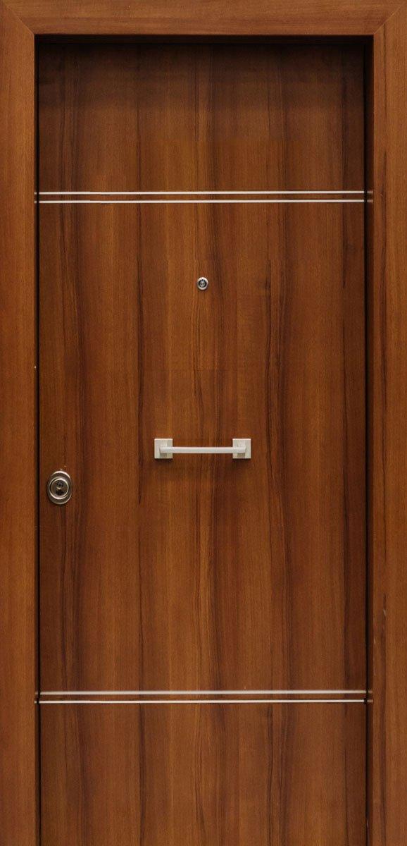 Πόρτες Ασφαλείας - Laminate - Καρυδιά με 2 διπλές οριζόντιες inox