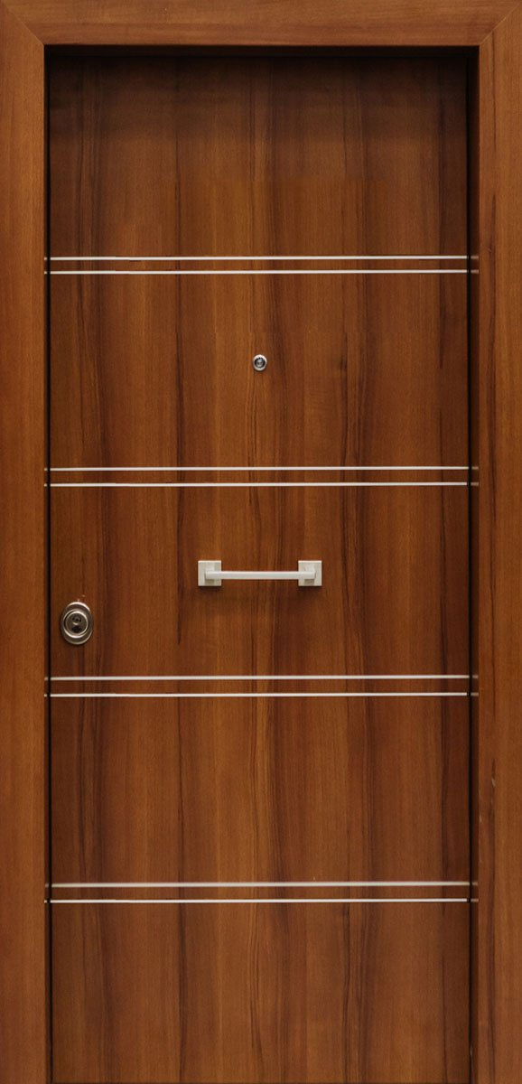 Πόρτες Ασφαλείας - Laminate - Kαρυδιά με 4 διπλές οριζόντιες inox