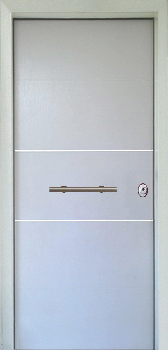 Πόρτες Ασφαλείας - Laminate - Λευκό με 2 οριζόντιες inox