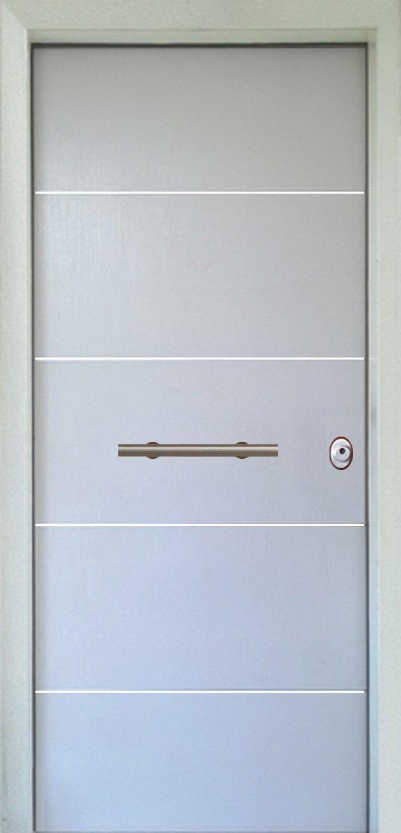 Πόρτες Ασφαλείας - Laminate - Λέυκό με 4 οριζόντιες inox