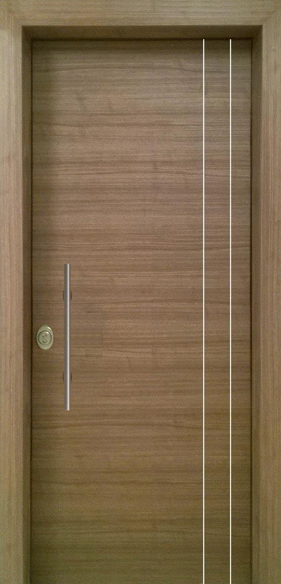 Πόρτες Ασφαλείας - Laminate - Grizio με 2 κάθετες inox