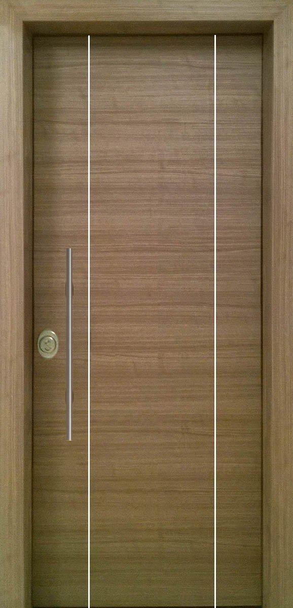 Πόρτες Ασφαλείας - Laminate - Grizio με 3 κάθετες inox