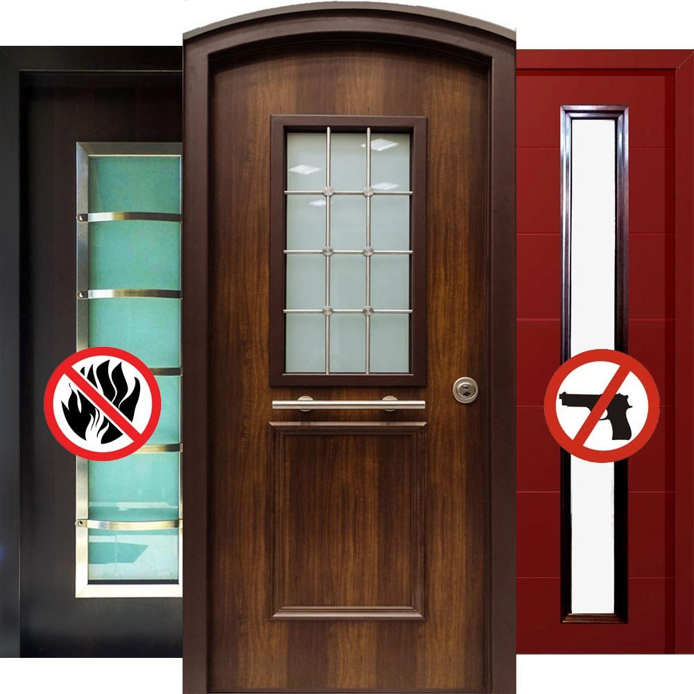 πόρτες ασφαλείας κατασκευές με τζάμι
