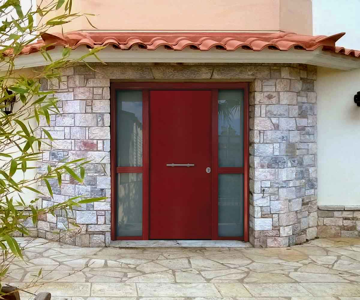 θωρακισμένη πόρτα κεντρική με δύο σταθερά τζάμια γάλακτος